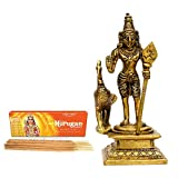 Vedic Vaani Kartikeya (Murugan) Swami Statue in Brass with Kumar Murugan Swami Incense