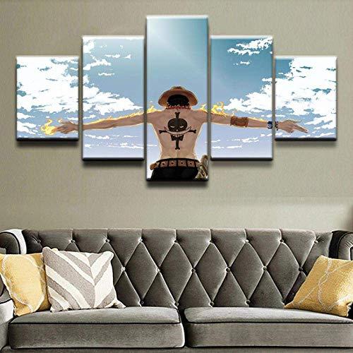 Impresión de lienzo de pintura, arte de pared para el hogar Impresiones en lienzo carteles 5 piezas Anime Blue Sky Paisaje, personajes jóvenes Pinturas de fuego de nube Cuadros decorativos para s