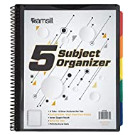 Samsill 10 Pocket, 5 Subject, Spiral Project Organizer with 5 Dividers, Customizable Front Cover, Erasable Write On Tabs