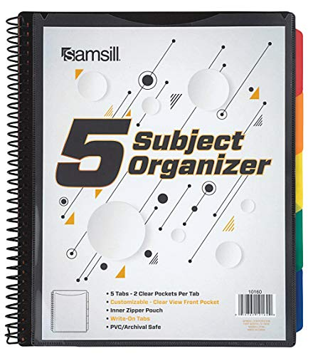Samsill 10 Pocket 5 Subject Spiral Project Organizer with 5 Dividers Customizable Front Cover Erasable Write On Tabs