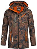 Geographical Norway - Chaqueta Rainman Turbo-Dry para hombre con tejido softshell y capucha Khaki/Orange S