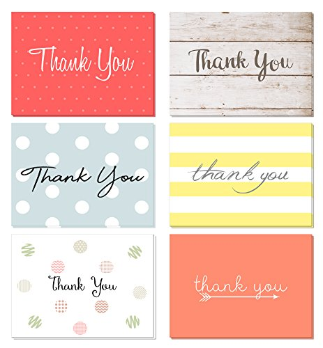(48 pack) Thank You Cards Set with Envelopes – Professional paper with red yellow silver blue pink designs and blank white inside – Bulk pack of notes perfect for baby shower wedding birthday party