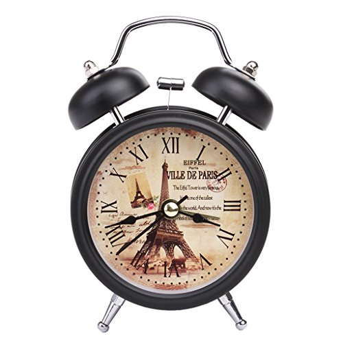 Kuvuiuee - Despertador para niños y niñas (muy práctico, LED, doble campana, reloj de mesita de noche, con alarma de metal silencioso), metal, 2, 12,5 × 7,3 × 5 cm