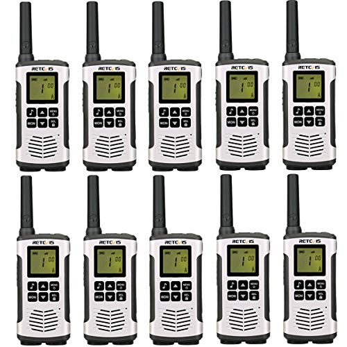 Retevis RT45 Walkie Talkies Rechargeable FRS VOX AA Battery Power Flashlight Call Reminder Roger Beep Sub-Ch Monitor Security Two Way Radios (10 Pack)