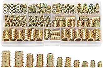 tellaLuna 138PCS Metric Thread Insert Nut M4/M5/M6/M8/M10 Kit for Wood Furniture Zinc Screw in Nut Hex Socket Drive Bolt F...