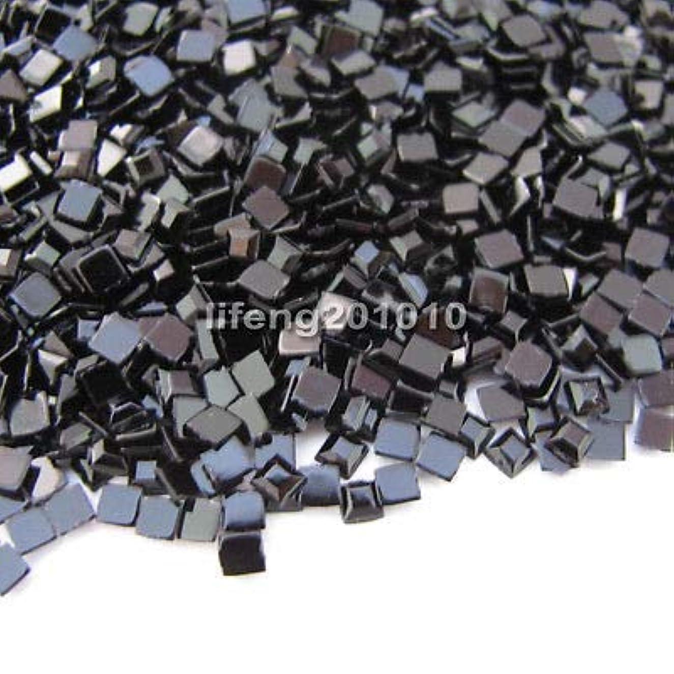ひねくれた博物館更新するFidgetGear 10000ピースブラックスクエア3Dアクリルネイルアートデコレーションフラットバックラインストーン宝石