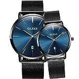 OLEVS - Juego de 2 relojes de pulsera de cuarzo para parejas con calendario ultra fino, malla de acero, esfera azul/negra, destornillador de ajuste, Blue dial, Mediano