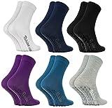 Rainbow Socks - Damen Herren Bunte Baumwolle Antirutsch Socken ABS - 6 Paar - Weiß Blau Marine Blau...