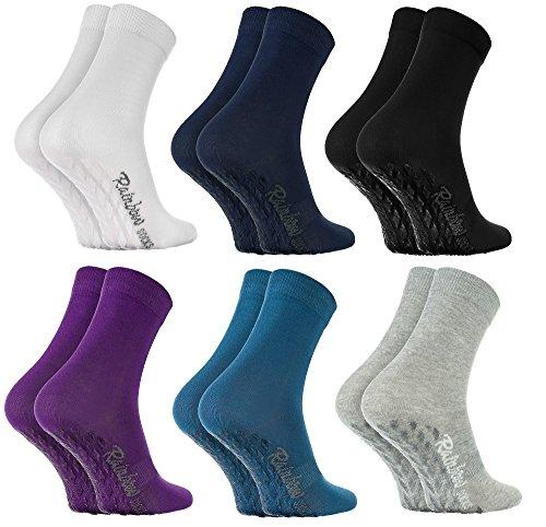 Rainbow Socks - Damen Herren Bunte Baumwolle Antirutsch Socken ABS - 6 Paar - Weiß Blau Marine Blau Schwarz Lila Grau - Größen 36-38