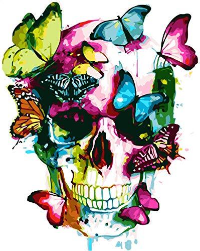 RIHE DIY Pintar por Numeros para Adultos Pintura al óleo Kit sobre Lienzo Decoraciones para el Hogar - Mariposas y Calavera de Colores 16 x 20 Pulgadas Sin Marco