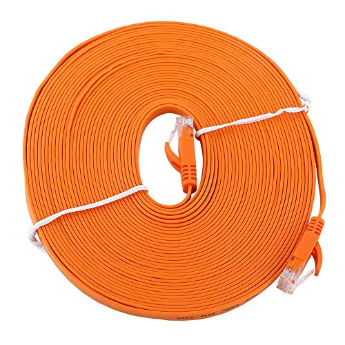 RJ45 CAT6 Red Ethernet Cable LAN Plano UTP Patch Router Cables 1000M - Naranja 10 Metros