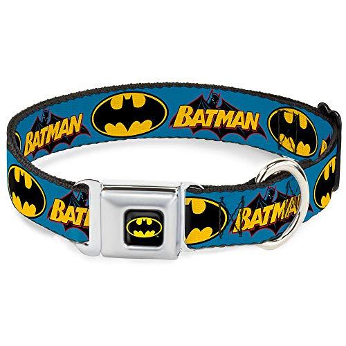 Coleira para cachorro fivela de cinto de segurança vintage logotipo Batman Sinal de morcego azul 38 a 66 polegadas 2,5 polegadas de largura