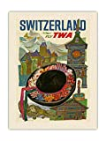 Pacifica Island Art Póster vintage de David Klein c.1960s con estampado de tela de lona orgánica RAW de Suiza Fly TWA (Trans World Airlines)