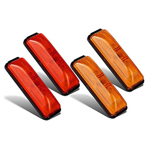 Partsam 4x Waterproof Amber/Red 4LED Side Marker Light for Trailer Truck Boat DC12V - Slim Waist