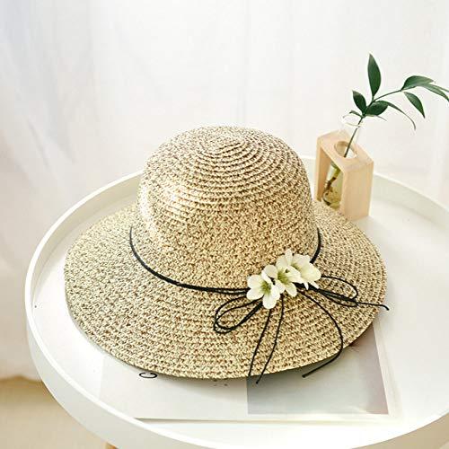 ZFLL Cappello da Sole Cappellino Estivo in Paglia Intrecciata con Fiore in Fiocco Cappello Estivo da Donna Cappello da Pescatore Cappello da Spiaggia Protezione Solare Ombrellone, Kaki