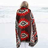 Baulanna 100% Cotton Yarn Weaving Throw Blanket, Year Round Thick Breathable Warm Throw Blanket for Couch, 5070' Home Decorative Mexican Blanket for Sofa Chair/Outdoor RV BBQ Camping Picnic