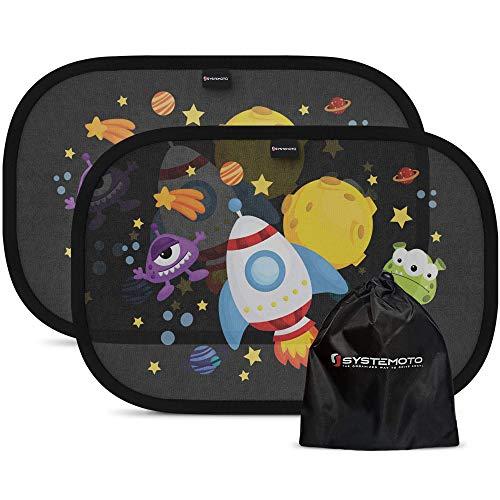 Systemoto Sonnenschutz Auto Baby mit Zertifiziertem UV Schutz (2er Set) - Selbsthaftende Sonnenblenden für Kinder mit süßen Tier Motiven (Weltraum)
