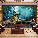 Yologg Papel Pintado 3D Bosque Pavo Real Paisaje Murales Sala De Estar Tv Dormitorio Estudio Decoración Para El Hogar-400X280Cm