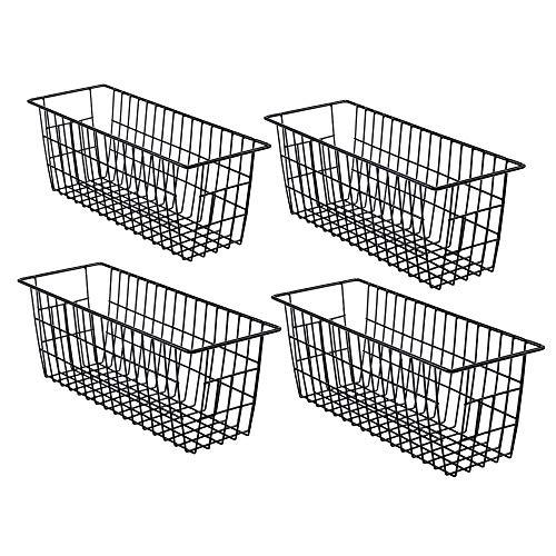 iPegTOP - Portarotolo in filo metallico per alimenti, con manici per armadietti, dispensa, bagno, lavanderia, armadi, garage, 4 pezzi, nero