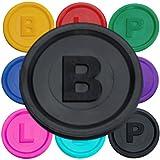 SchwabMarken 100 Marcadores Fichas con -B-, P- o -L- en 14 Colores Negro B...