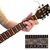 Guitar Trainer | Color Coded Fretboard Fret Map Note Stickers for Beginner / Learning (black)