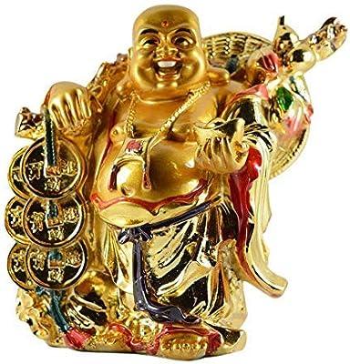 Reiki Crystal Products Porcelain Vastu/feng Shui Laughing Buddha With Potli, Standard, Golden