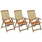 Tidyard 3X Akazienholz Massiv Gartenstuhl-Set Klappbar mit Auflagen Klappstuhl Hochlehner Stuhl Stühle Gartensessel Holzstuhl Gartenstühle Essstuhl In 5 Positionen verstellbar