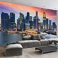 カスタム写真の壁紙3Dシンガポールシティビルディングナイトビュー壁画リビングルームオフィス背景壁の装飾モダンクリエイティブフレスコ画,400(W)*280(H)Cm