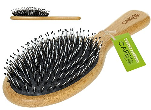 CareElite Haarbürste aus Bambus-Holz für nasse, trockene, lockige und schöne Haare bei Frauen, Männern und Kindern/Beste Haarbürste zur Haarpflege von wirrem Haar