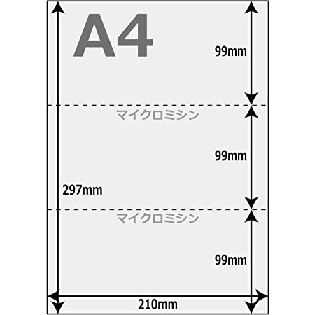 denkon A4 白紙 カット紙 3分割 マイクロミシン目入 プリンタ帳票用紙 3面 500枚 NP02N