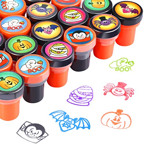 Halloween Stamps Self Ink Stamps Halloween Plastic Stamps for Kids Halloween Party Supplies (24 Pieces)