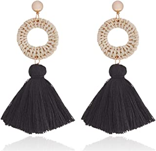 Piida Geometric Earrings White Stone Tassel Earrings Push Back Dangle Drop Earrings Stud Earrings Boho Earrings Fringe Tassel Women Earrings