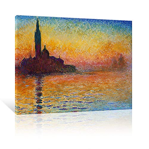 JAPO ART Dusk in Venice Canvas Prints Wall Art of Famous Artwork by Claude