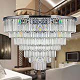 MEELIGHTING Luxury Crystal Chrome Chandelier Lighting Modern Contemporary Chandeliers Pendant Ceiling Lamp Light Fixture 7-Tier for Dining Room Living Room Hotel Showroom (24 Lights) W39.4'