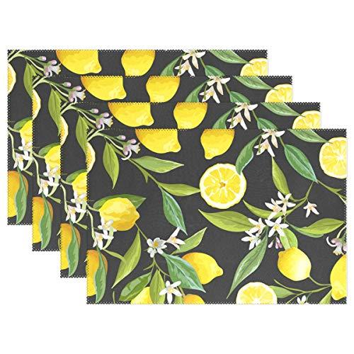 ALARGE Platzsets, Tropische Zitrone Muster, waschbar, hitzebeständig und fleckenresistent, Tischmatte für Küche Esstisch, Polyester, Multi, 4 Stück