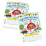 Hadley Designs 25 Cartoon Farm Barnyard Birthday Kid Party Invitation, Animal Pig Cow Invite for Girl Boy, Tractor Barn Theme Country Rodeo Ranch, Western Horse Pony Cowgirl Cowboy, Printable Template