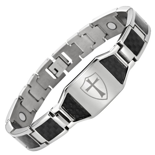Willis Judd Titanium Magnetic Bracelet Knights Templar Cross Shield Black Carbon Fiber Adjustable