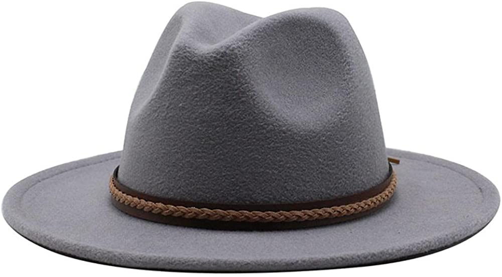 Women's and Men's Fedora Hat Classic Wide Elegant Brim Panama Wool Jazz Hat Daily Travel Cowboy Hats with Decoration Light Grey