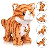 Pattern Yellow Plush Cat Stuffed Animal Interactive Cat Robot Toy, Barking Meow Kitten Touch Control, Electronic Cat Pet, Cat Kitty Toy, Animated Toy Cats for Girls Baby Kids L:12' H:8' W:5'