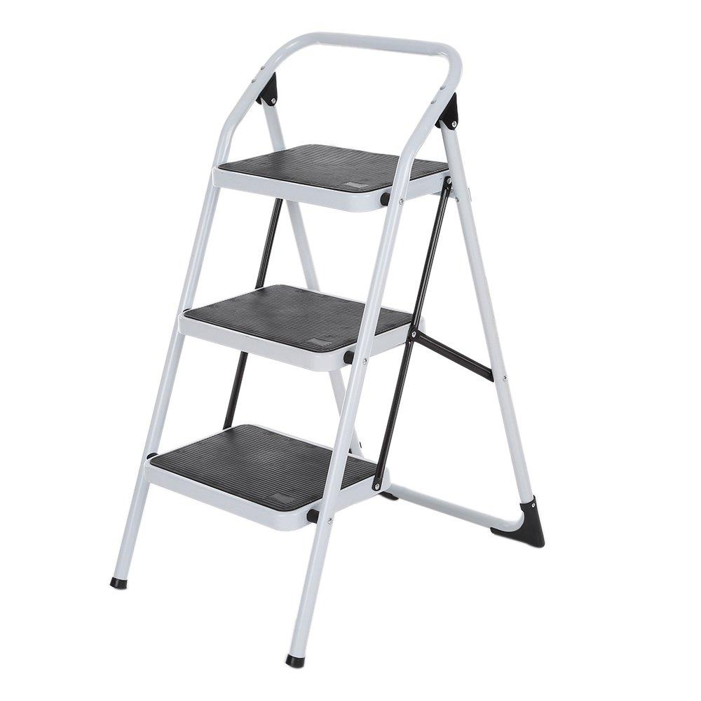 iKayaa Escalera Plegable de 3 Pasos con la Mano Marco Iron Grip Escalera Portátil de Aluminio Antideslizante Multiuso: Amazon.es: Hogar