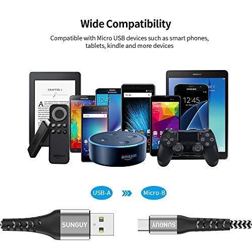 SUNGUY Kurzes Micro USB Kabel [0.3 M 3Stück] Nylon Braided Fast Charger und Data Sync Charger für Samsung Galaxy S7 Edge, Moto G5 Plus,Huawei P0 Lite, Sony Xperia Z5, Kindle Fire