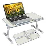 Hossejoy Table multifonction, portable, hauteur réglable et angle réglable, support pour ordinateur portable, table de lit, pupitre pour canapé, lit, terrasse, balcon, jardin, etc.
