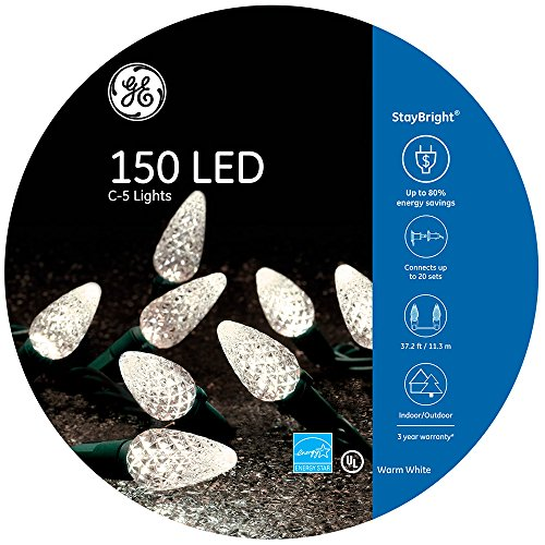GE StayBright 150-Count 37.25-ft Constant Warm White C5 LED Plug-in Indoor/Outdoor Christmas String...