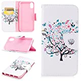 3C Collection Coque Portefeuille iPhone XS Max avec Porte Carte, Coque iPhone XS Max Rabat Arbre...
