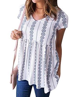 Ezcosplay Women Summer Floral Print Short Sleeve Tops V Neck Peplum Blouse Shirt