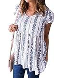 WLLW Women Bohemian Short Sleeve V Neck Floral Print Peplum Shirt Top Blouse Tee (XXL, White)