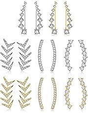 Finrezio 8 par öronmanschetter ring klättrare örhänge för kvinnor CZ pil Crawler stiftörhänge jacka för kvinnor