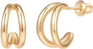 PAVOI 14K Gold Plated Sterling Silver Split Hoop Huggie Earrings in Rose Gold, W