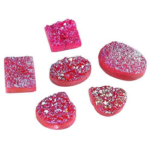 GEMHUB Druzy Stone Pink Color 120 Carat Lot of 6 Pcs Mix Shape Loose Gemstone for Jewelry Making