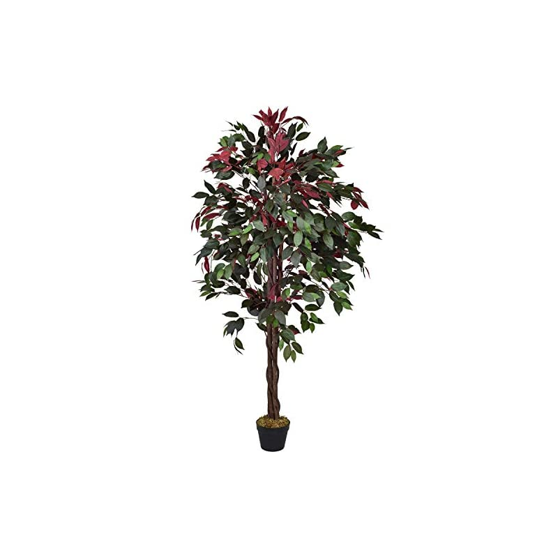 silk flower arrangements lvydec 5.2ft artificial silk ficus tree, faux tree in pot with green and red leaves for home office living room decoration